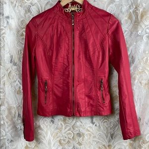 Downtown Coalition Red Faux leather Moto Jacket XS